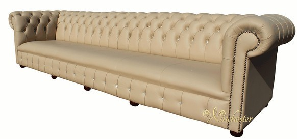 Chesterfield Lincoln Swarovski CRYSTALLIZED™ Diamond 6 Seater Leather Sofa Ivory Leather Offer