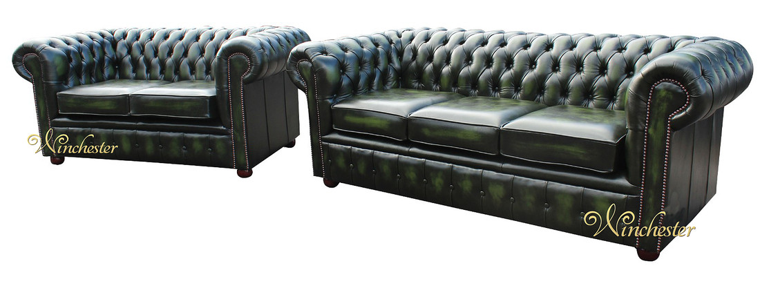 Chesterfield London 3 Seater 2 Antique Green Wc