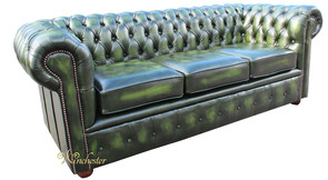 Chesterfield London 3 Seater Antique Green Leather Sofa Settee Offer