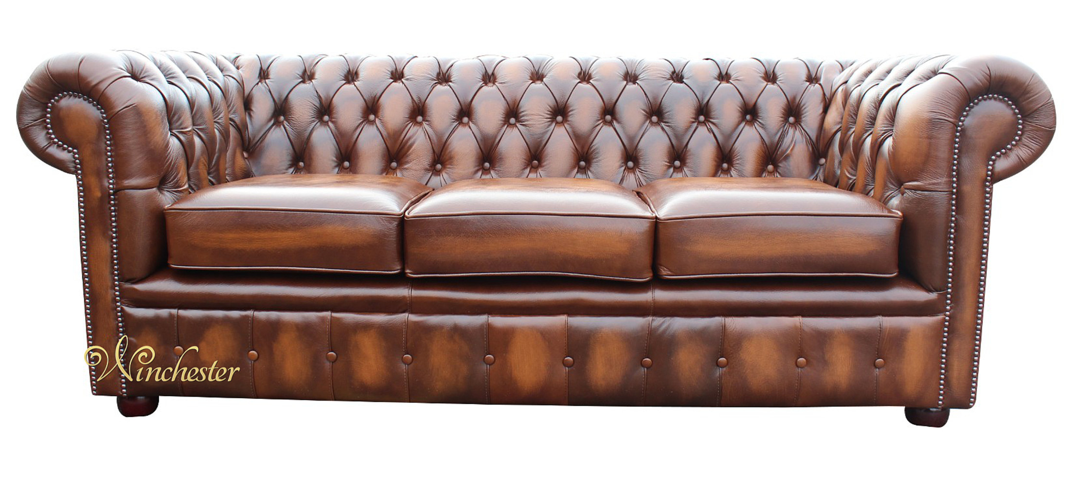 Chesterfield London 3 Seater Antique Tan Leather Sofa Settee