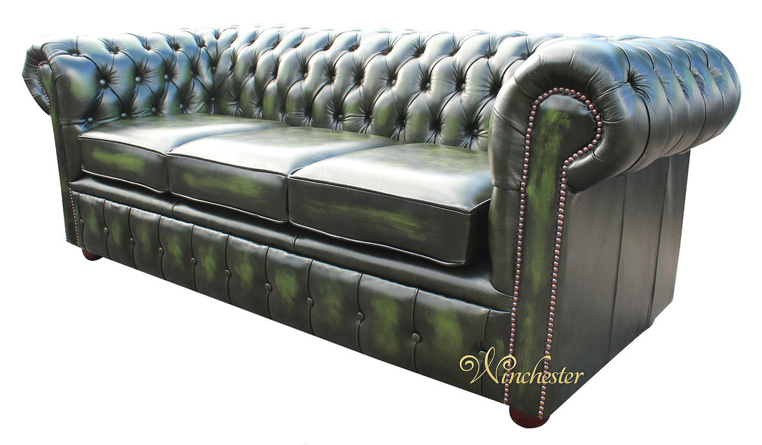 chesterfield london 3 seater antique green leather sofa settee offer. Black Bedroom Furniture Sets. Home Design Ideas