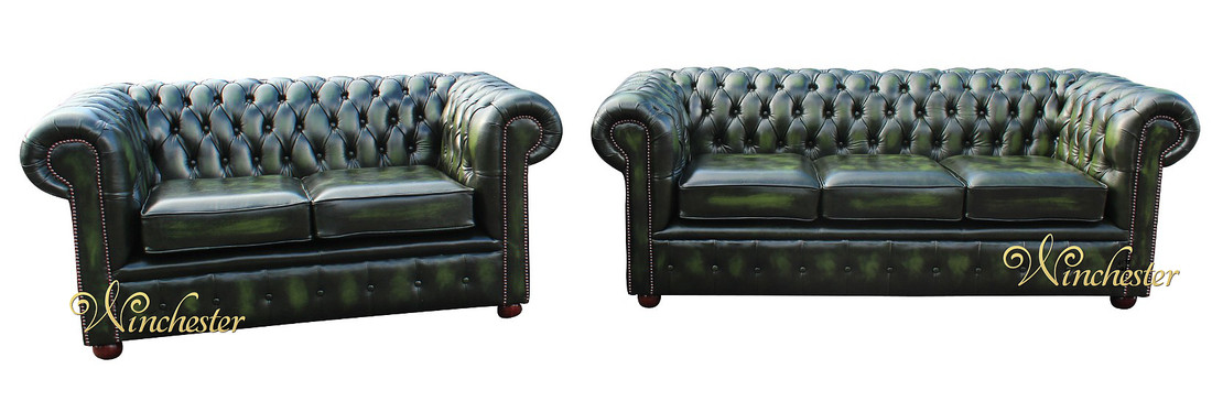 Chesterfield London Sofa Suite Antique Green Leather 2