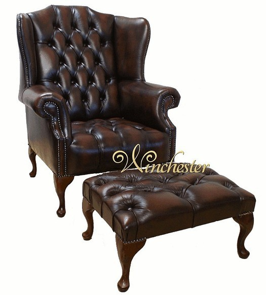 Chesterfield Mallory Buttoned Seat Flat Wing Queen Anne High Back Wing Chair + Matching Footstool UK Manufactured Antique Brown