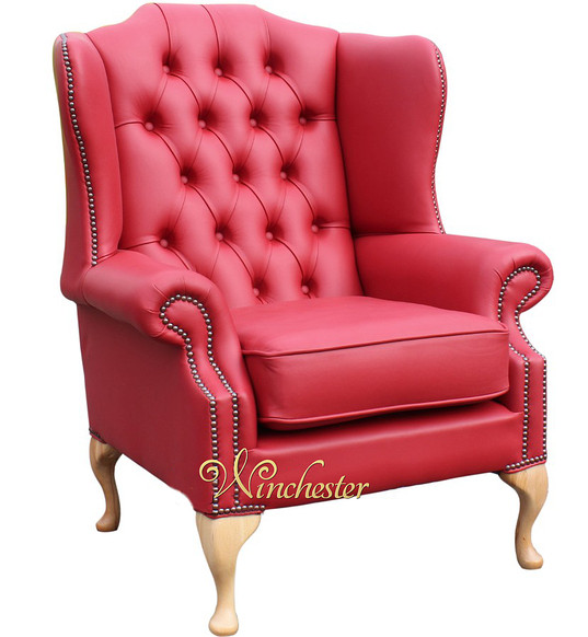 Chesterfield Mallory Flat Wing Natural Feet High Back Wing Chair UK Manufactured Flame Red Leather
