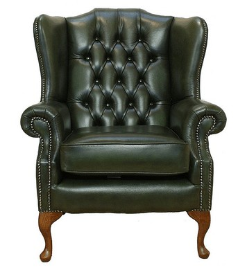 Chesterfield Mallory Flat Wing Queen Anne High Back Wing Chair UK Manufactured Antique Green
