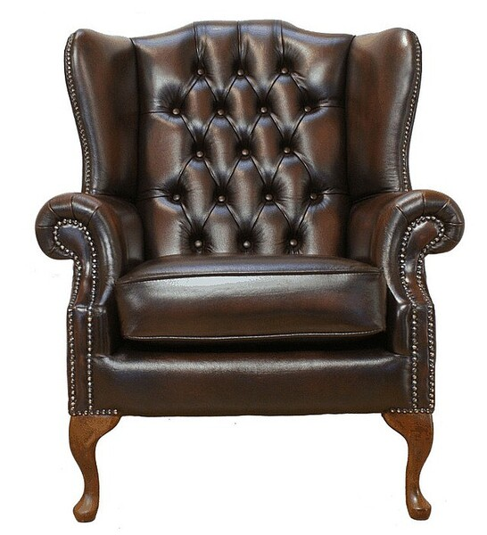Chesterfield Mallory Flat Wing Queen Anne High Back Wing Chair UK Manufactured Antique Brown