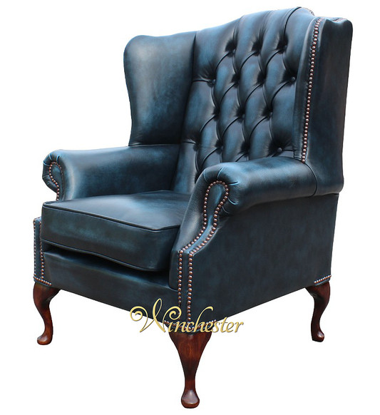 Chesterfield Mallory Flat Wing Queen Anne High Back Wing Chair UK Manufactured Antique Blue Leather