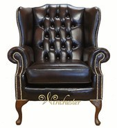 Chesterfield Mallory Flat Wing Queen Anne High Back Wing Chair UK Manufactured Antique Brown Brass Studs