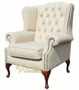 Chesterfield Mallory Flat Wing Queen Anne High Back Wing Chair UK Manufactured Cream Leather
