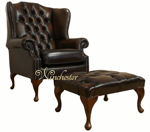 Chesterfield Stamford Offer High Back Wing Chair Footstool