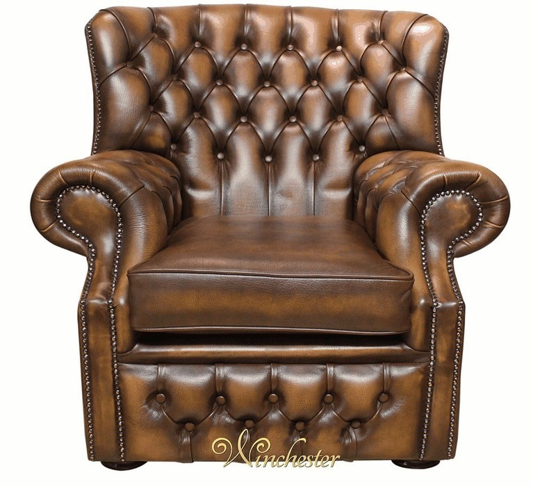 Chesterfield Monks Armchair Antique Tan Leather Wc