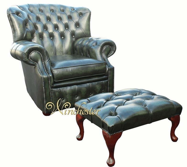 Chesterfield Monks High Back Wing Chair Antique Green Uk Manufactured Armchair Traditional Sofas