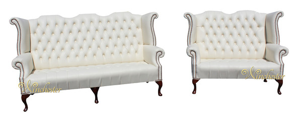 Chesterfield Newby 3 Seater + 2 Seater Queen Anne High Back Wing Chair Sofa Cottonseed Cream Leather
