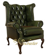 Chesterfield Newby High Back Wing Chair UK Manufactured Antique Green