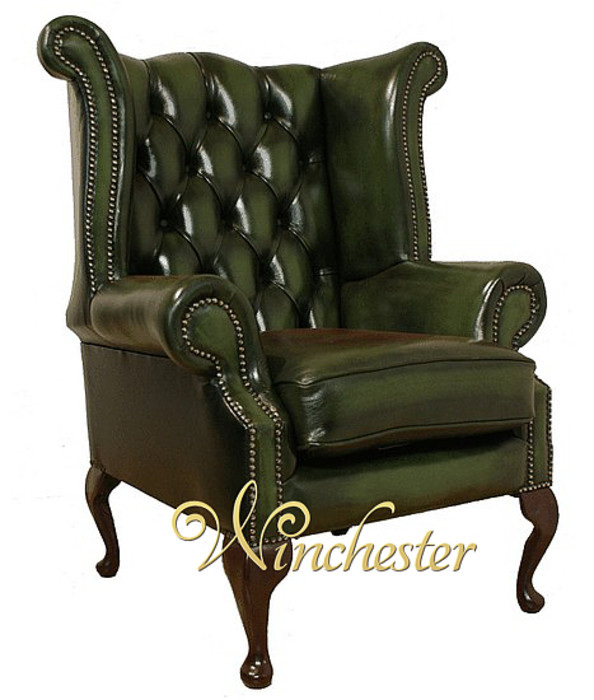 Chesterfield Newby High Back Wing Chair Uk Manufactured Antique Green Leather Sofas Traditional Sofas