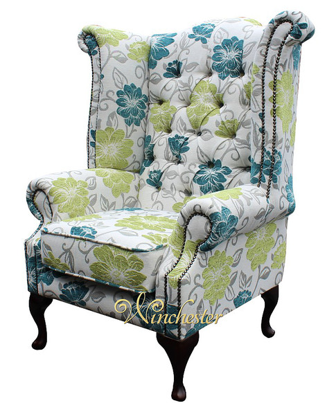 Chesterfield Newby Prince's Wing Queen Anne High Back Wing Chair Floral Summer Teal