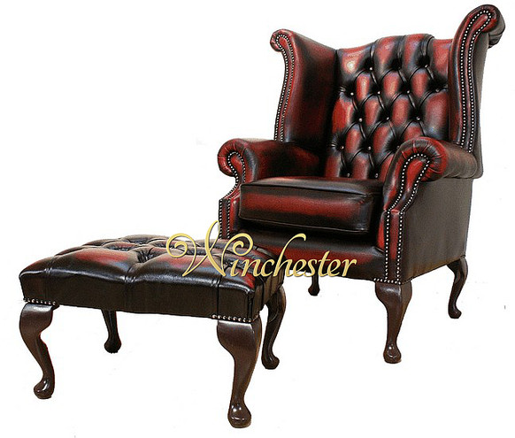 Chesterfield Offer Newby High Back Oxblood Wing Chair Footstool