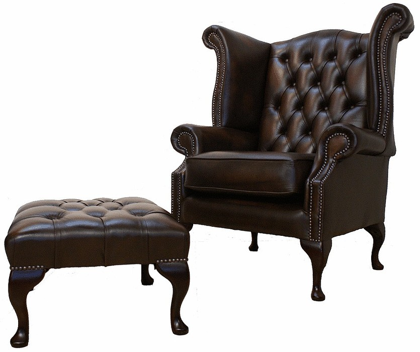 Chesterfield Offer Queen Anne High Back Wing Chair Footstool Antique Brown Leather Leather