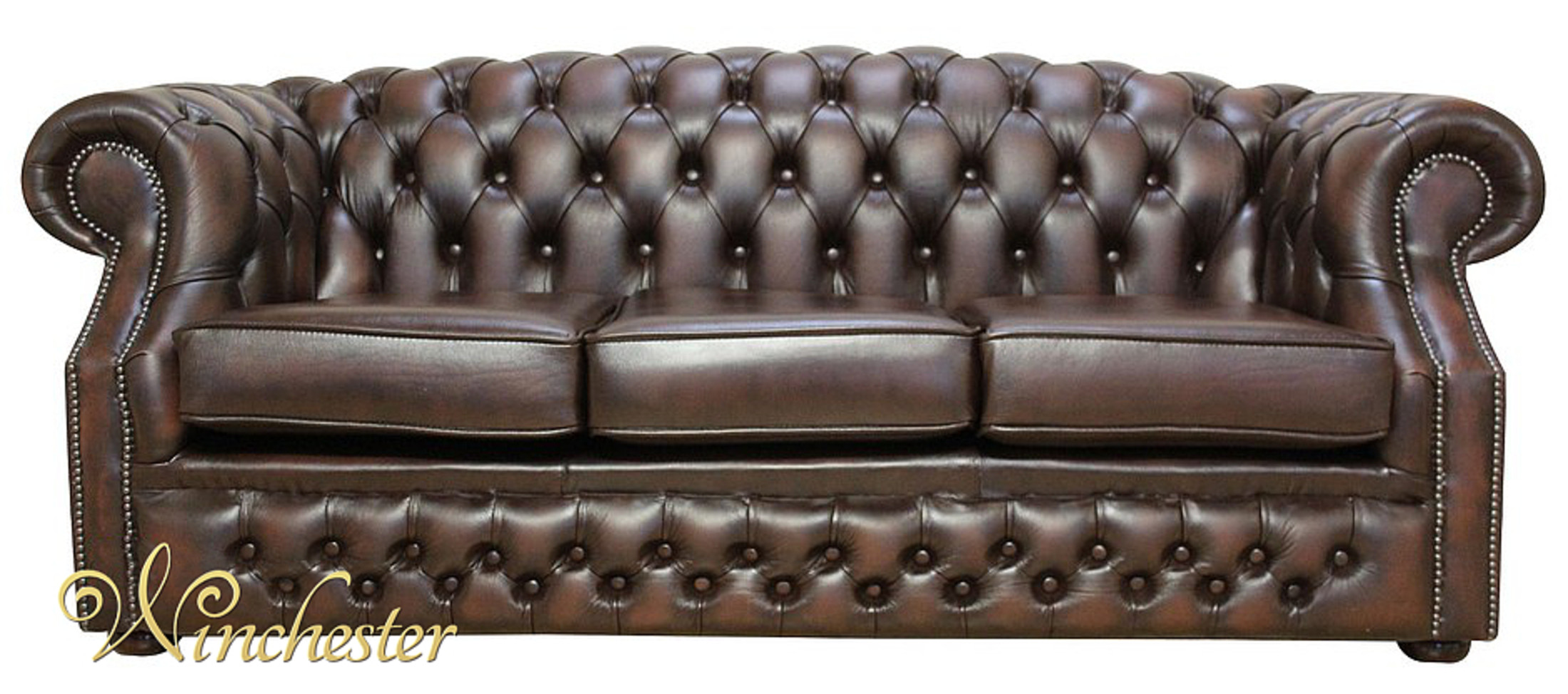 Chesterfield Oxford 3 Seater Antique Brown Leather Sofa Offer