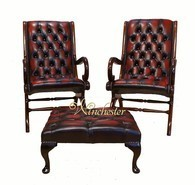 Chesterfield Offer Pair York Slipper Leather Chair And Footstool