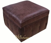 Chesterfield Storage Footstool Pouffe UK Maufactured Old English Brown