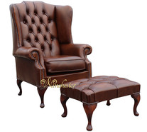 Chesterfield Prince's Mallory Flat Wing Queen Anne High Back Wing Chair UK Manufactured Antique Tan Leather With Matching Footstool