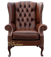 Chesterfield Prince's Mallory Flat Wing Queen Anne High Back Wing Chair UK Manufactured Antique Tan Leather