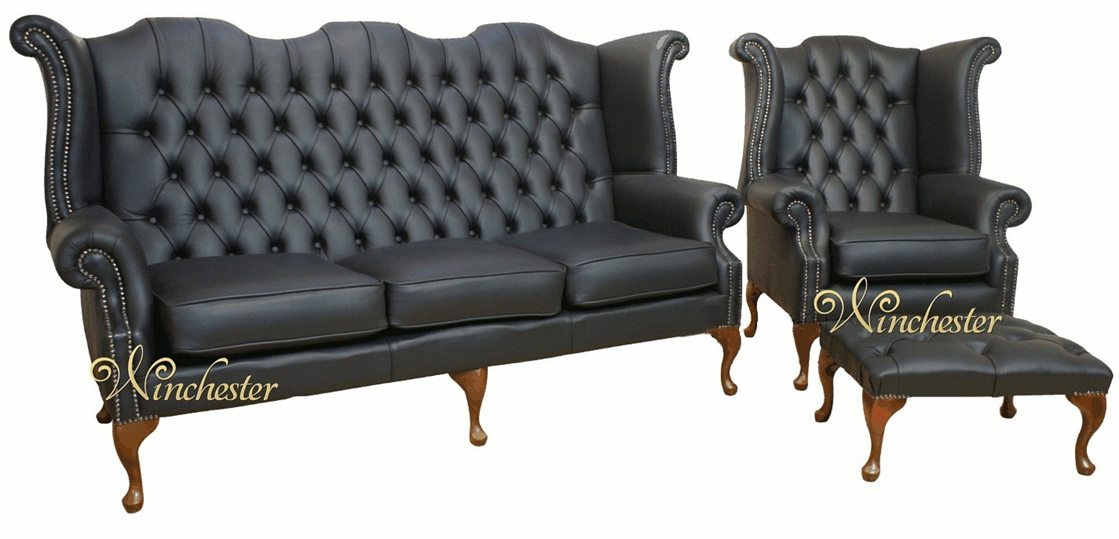 Chesterfield Queen Anne 3 Seater Sofa  Chesterfield Wing Chair Footstool Black Leather Wc