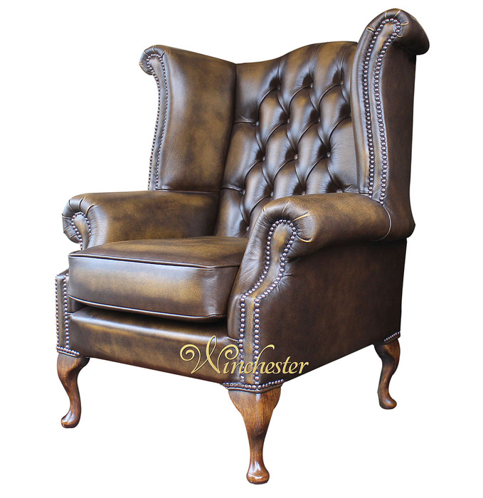 Chesterfield Queen Anne High Back Wing Chair UK Manufactured Antique Gold, Leather Sofas