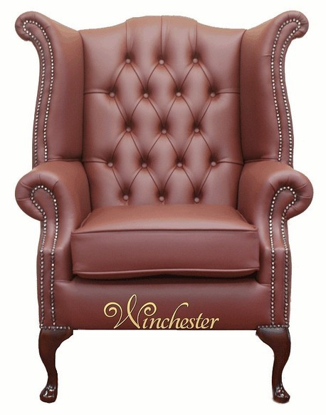 Chesterfield Queen Anne High Back Wing Chair Burgandy