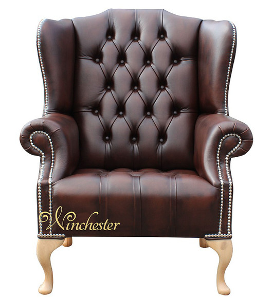 Chesterfield Mallory Buttoned Seat Queen Anne High Back Wing Chair Silver Studs UK Manufactured Antique Brown