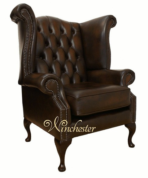 Scroll Wing Chair UK Manufactured Antique Brown