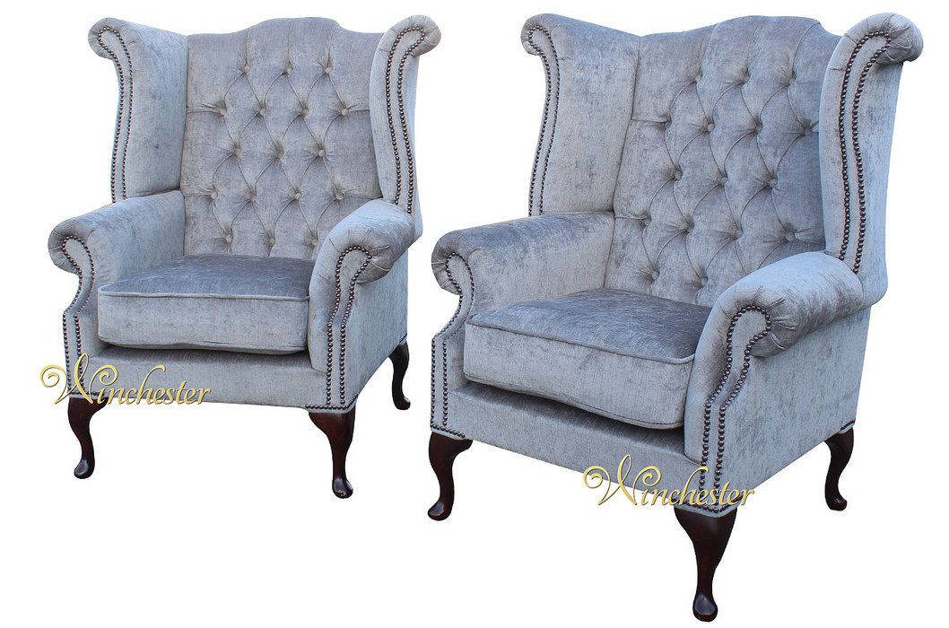 Chesterfield Offer Pair Fabric Queen Anne High Back Wing