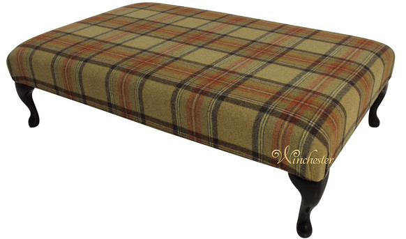 Chesterfield Queen Anne Footstool Beningborough Goldcrest Wool UK Maufactured