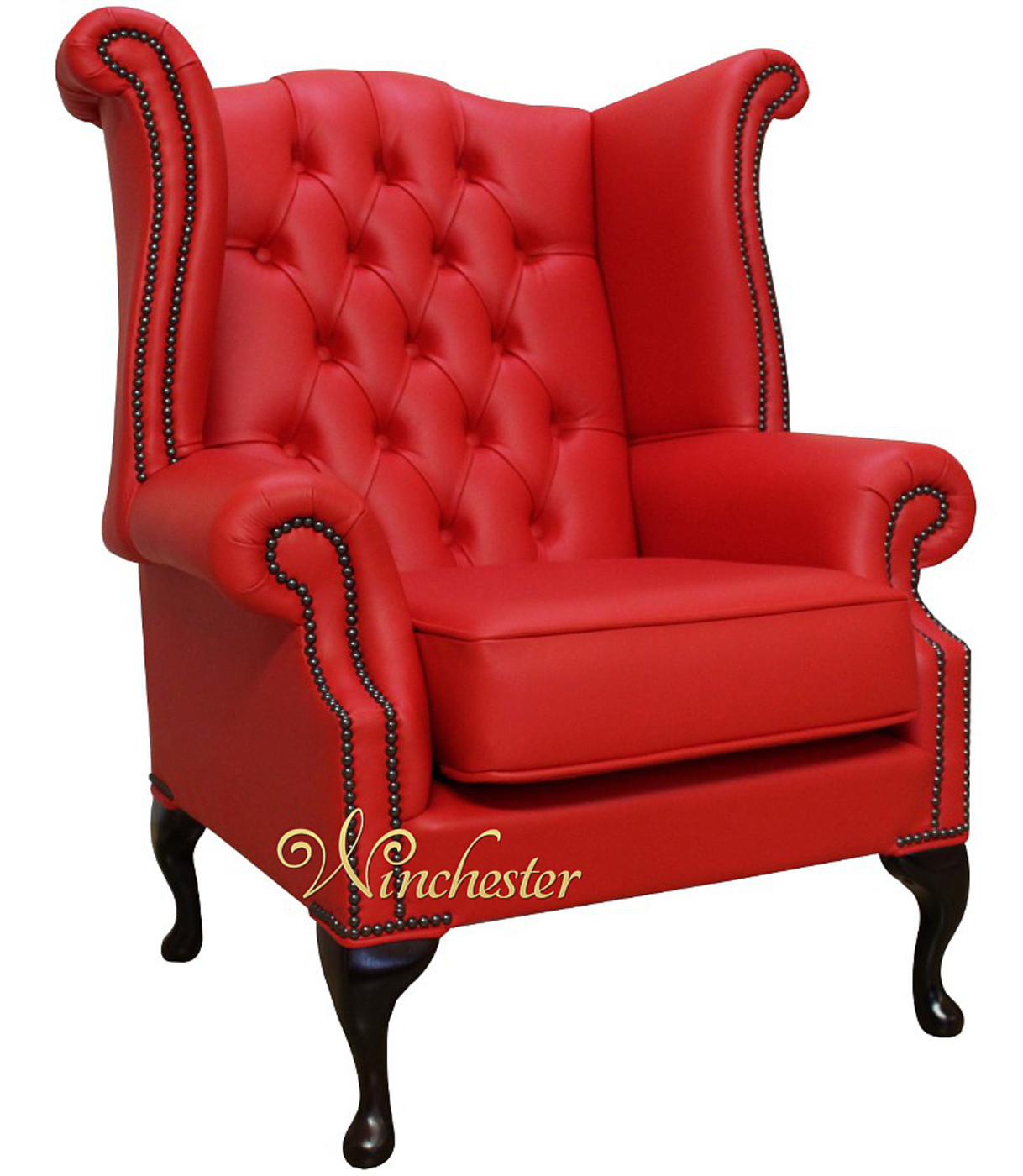 ... Chesterfield Queen Anne High Back Wing Chair Flame  ...