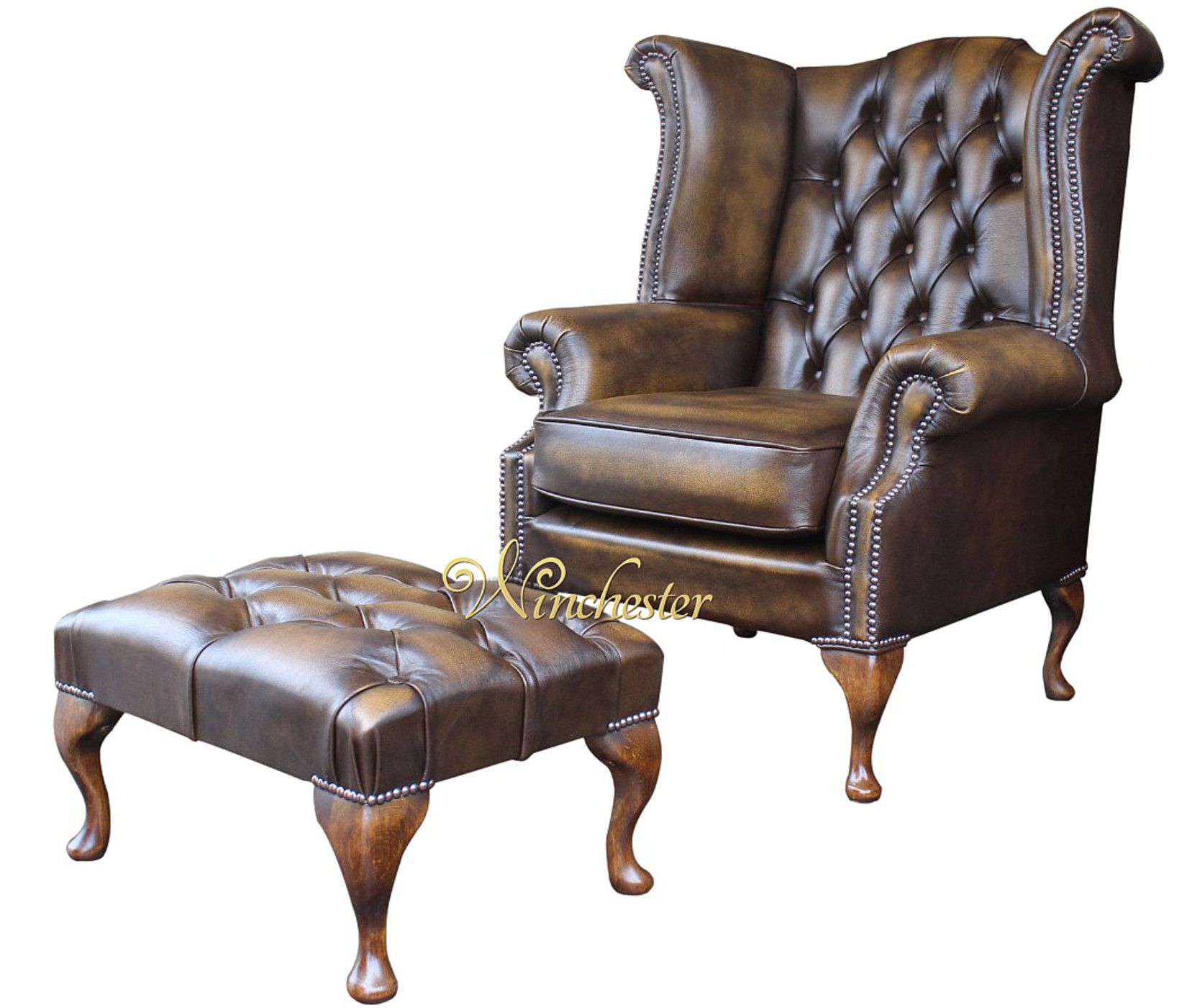 Chesterfield Queen Anne High Back Wing Chair Footstool Antique  Gold Leather Wc