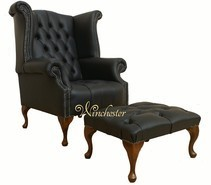 Chesterfield Offer Queen Anne Buttoned High Back Black Wing Chair Footstool