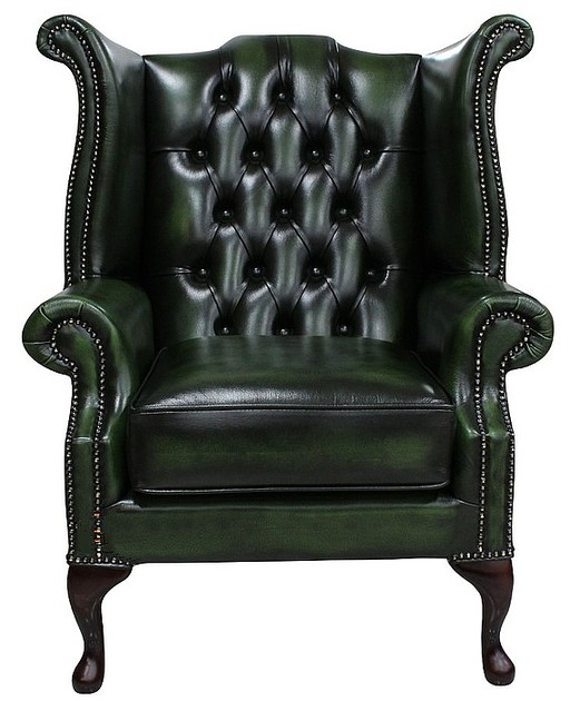 chesterfield queen anne high back wing chair uk manufactured leather sofas traditional sofas. Black Bedroom Furniture Sets. Home Design Ideas