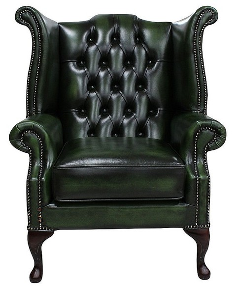 Chesterfield Queen Anne High Back Wing Chair UK Manufactured Antique Green