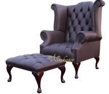Chesterfield Offer Queen Anne Buttoned High Back Black Wing Chair Footstool Dark Chocolate Leather