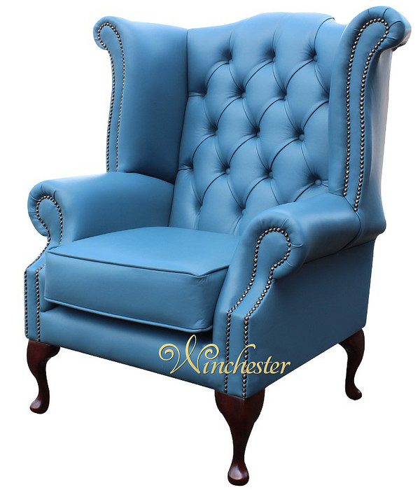 Chesterfield Queen Anne High Back Wing Chair Soft Vele