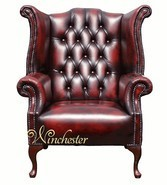 Chesterfield 1780's Queen Anne High Back Wing Chair UK Manufactured Antique Oxblood