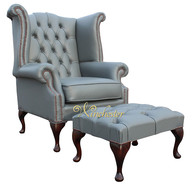 Chesterfield Queen Anne High Back Wing Chair UK Manufactured Vele Soft Iron Grey Leather With Matching Footstool