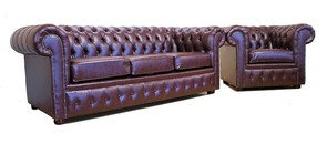 Chesterfield Rosewood Faux Leather Sofa 3+Club