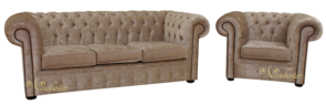 Chesterfield 3 Seater Sofa + Club Chair Senso Oyster Velvet Fabric Suite