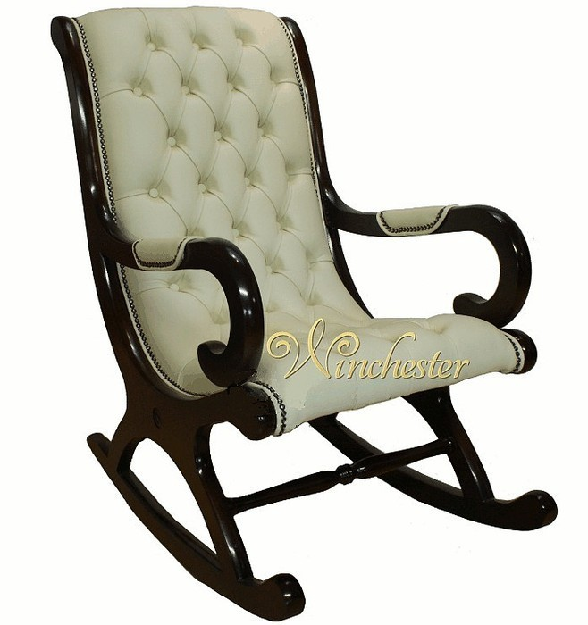 chesterfield york slipper rocking chair cream leather leather sofas traditional sofas. Black Bedroom Furniture Sets. Home Design Ideas