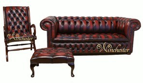 Chesterfield Leather Sofa 3+Slipper+Footstool