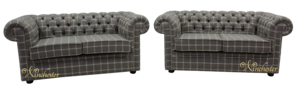 Chesterfield Arnold Wool 2+2 Seater Sofa Suite Reflection Hessian Tweed Check