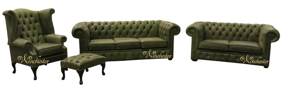 Chesterfield Leather Suite 3 Seater Settee + 2 Seater Sofa Matching Fireside Wing Armchair Selvaggio Sage Green Offer