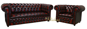 Chesterfield 3+1 Swarovski CRYSTALLIZED™ Diamond Leather Sofa Offer Antique Oxblood